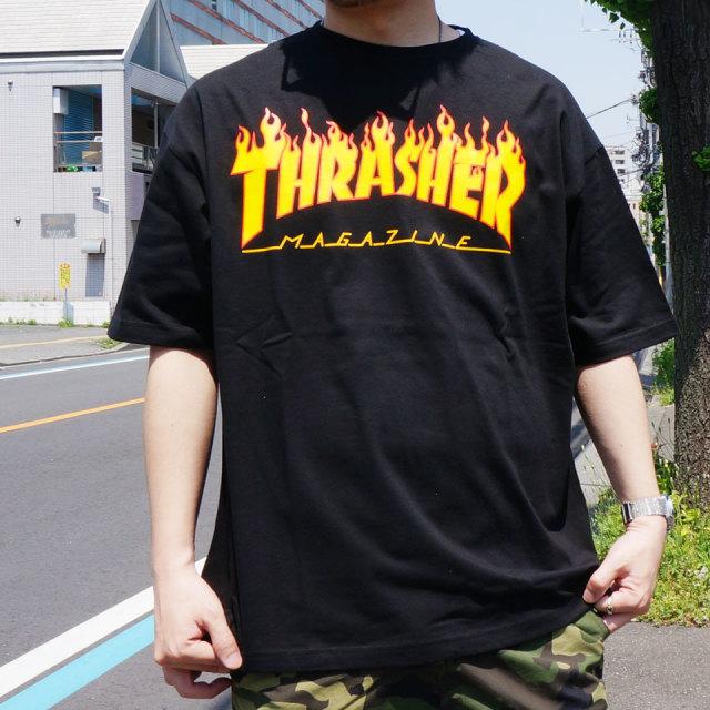 SALE セール 全2色 THRASHER スラッシャー Tシャツ FLAME LOGO BIG SILHOUETTE S/S Tee ビッグシルエット TH91130BS ホワイト ブラック