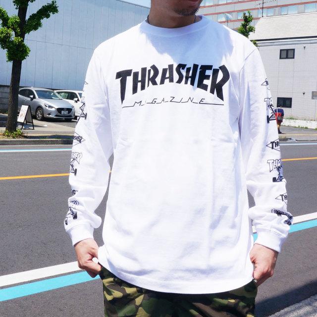 SALE セール 全2色 THRASHER スラッシャー ロンT Tシャツ MULTI-E L/S Tee TH93159 ホワイト ブラック