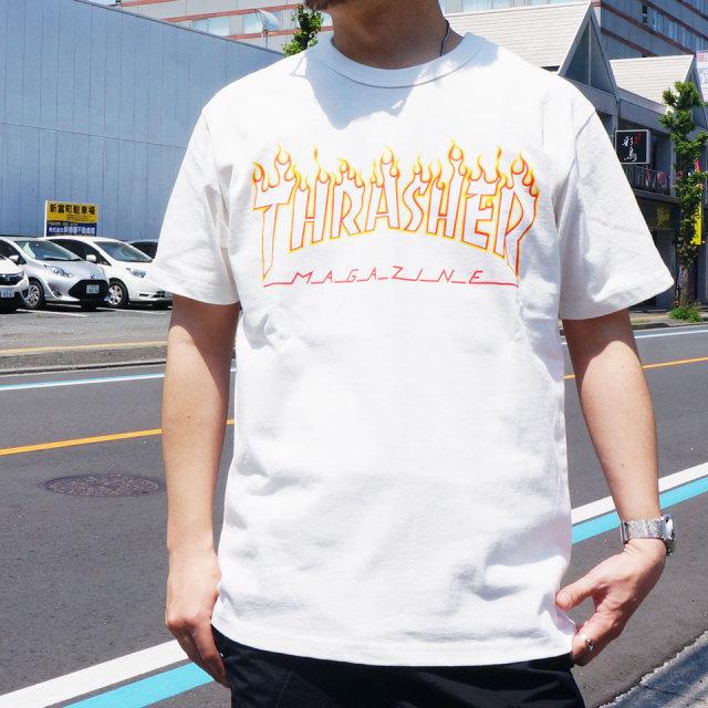 SALE セール 全2色 THRASHER スラッシャー Tシャツ FLAME OUT LINE S/S Tee TH91214US ホワイト ブラック