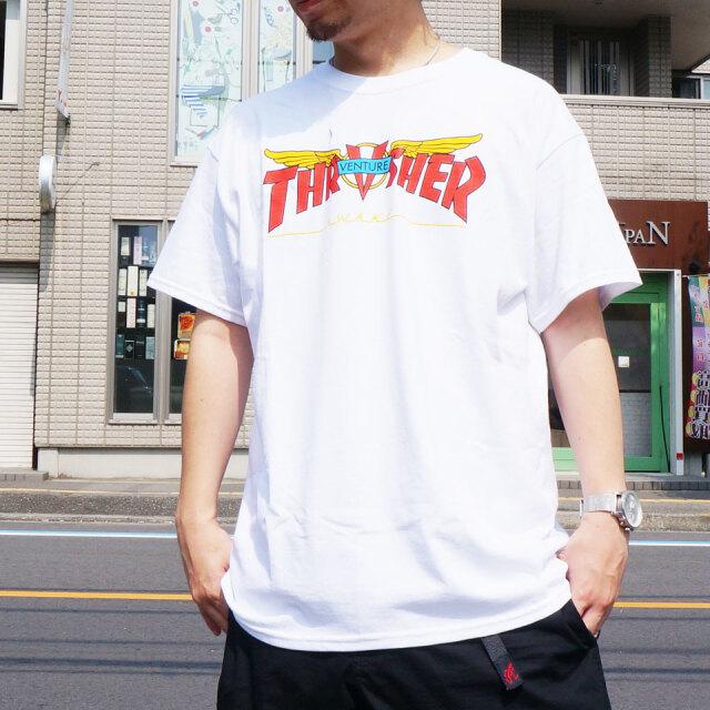 SALE セール 全2色 THRASHER スラッシャー Tシャツ VENTURE TRUCKS COLLAB Tee ベンチャートラックス コラボ ホワイト ブラック