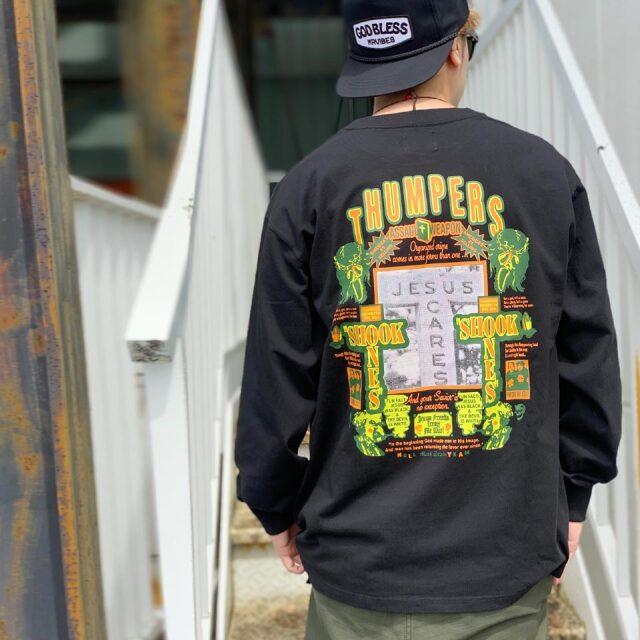 全2色 サンパースブルックリン THUMPERS BROOKLYN NYC ロンT Tシャツ JEESUS SCARES L/S Tee ホワイト ブラック