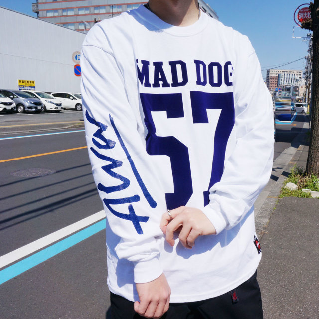 TONY ALVA トニーアルバ ALVA SKATES ロンT Tシャツ MAD DOG 57 L/S Tee ホワイト ブラック