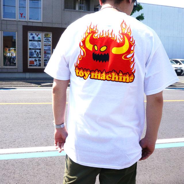 SALE セール 全2色 TOY MACHINE トイマシーン Tシャツ TOY MONSTER FLAME LOGO S/S Tee ホワイト ブラック TMS20ST15