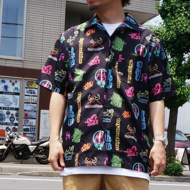 SALE セール 全2色 TOY MACHINE トイマシーン 半袖シャツ NEON ALL OVER SHIRT 開襟シャツ ブラック ワイン TMS20SH30