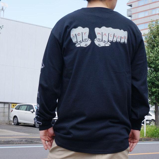 全2色 トイマシーン TOY MACHINE ロンT Tシャツ FIST EMBROIDERY L/S Tee 長袖 袖プリント ホワイト ブラック