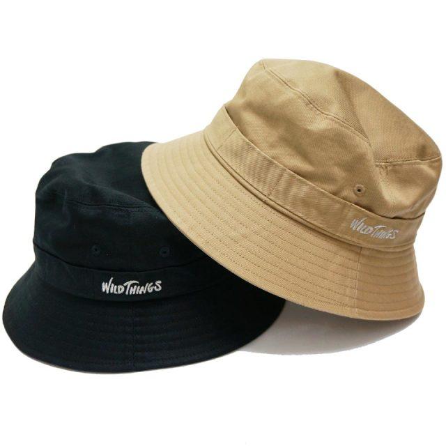 WILD THINGS ワイルドシングス バケットハット LOGO BUCKET HAT ブラック ベージュ