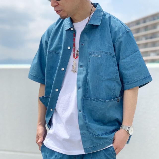 ワイルドシングス WILD THINGS デニムシャツ SHELTECH S/S BIG POCKET SHIRT 半袖シャツ シェルテック ブルー BLUE