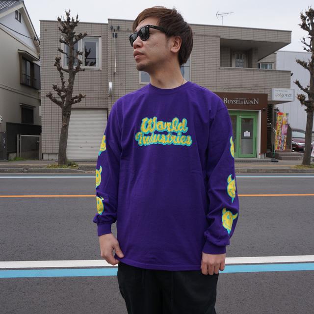 ワールドインダストリーズ WORLD INDUSTRIES ロンT Tシャツ WORLD INDUSTRIES LOGO L/S Tee 長袖 パープル 紫 PURPLE