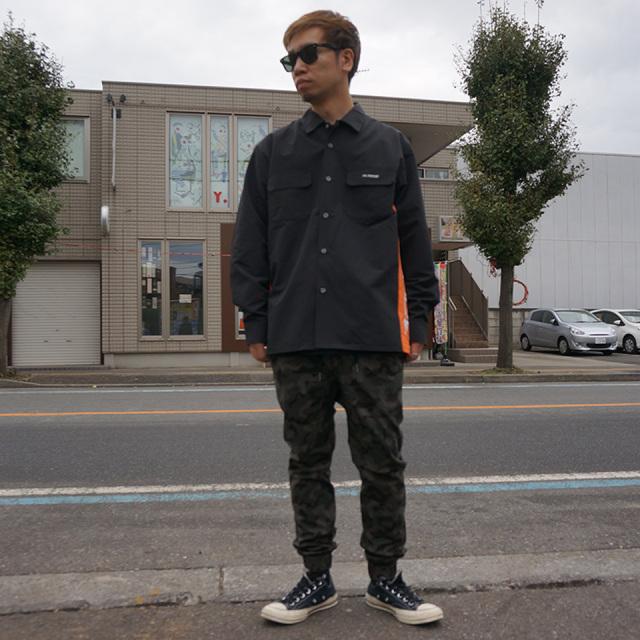 SALE セール エクストララージ XLARGE ナイロン ワークシャツ NYLON WORK SHIRT ブラック ダークグリーン BLACK DK GREEN 01193403 【#SafeAtHome】