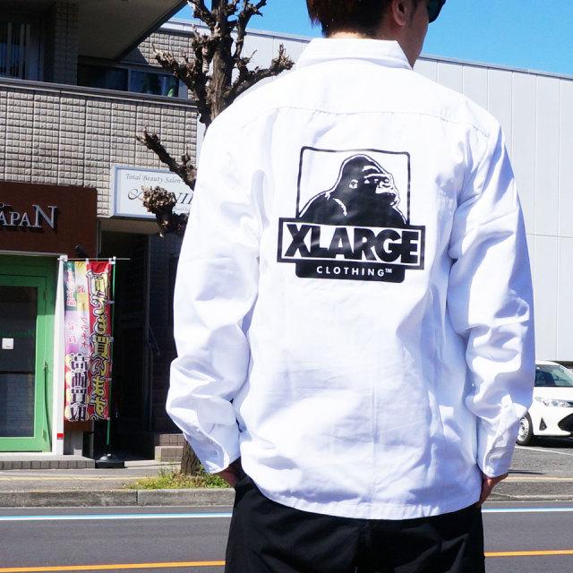 エクストララージ XLARGE ワークシャツ L/S OG WORK SHIRT 定番ロゴ ホワイト ブラック
