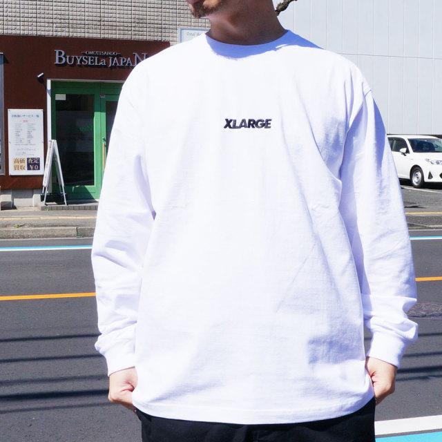 エクストララージ XLARGE ロンT Tシャツ EMBROIDERED STANDARD LOGO L/S Tee 長袖  ホワイト オレンジ