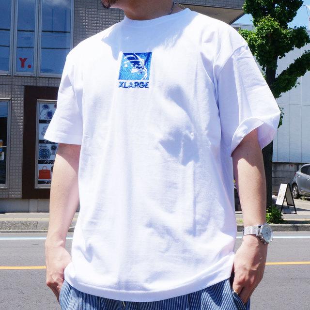 全3色 エクストララージ XLARGE Tシャツ EMBROIDERY SQUARE LOGO S/S Tee 半袖  ホワイト ブラック ピンク