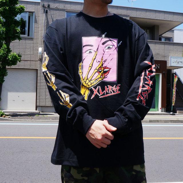 全2色 エクストララージ XLARGE ロンT Tシャツ SCARED FACE L/S Tee 長袖  ホワイト ブラック
