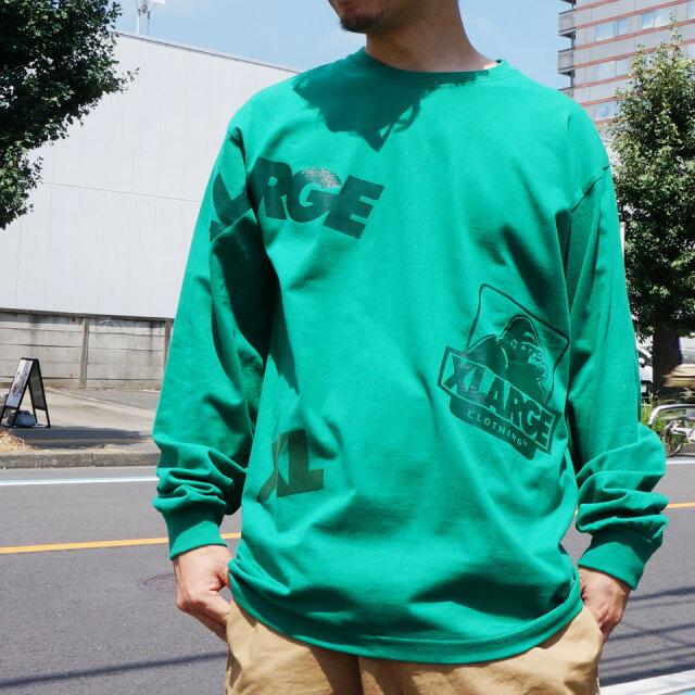 全2色 エクストララージ XLARGE ロンT Tシャツ RANDOM PRINT L/S Tee 長袖  ブラック グリーン
