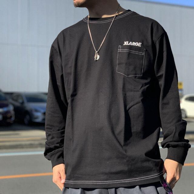 エクストララージ XLARGE ロンT Tシャツ CONTRAST STITCH L/S Tee ブラック 黒 BLACK