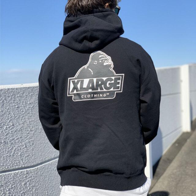 全3色 エクストララージ XLARGE パーカー  SLANTED OG HOODED SWEAT PARKA フーディー 定番ロゴ ブラック 黒 グレー ブラウン