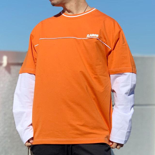 全2色 エクストララージ XLARGE ロンT Tシャツ LAYERD L/S Tee レイヤード ブラック オレンジ