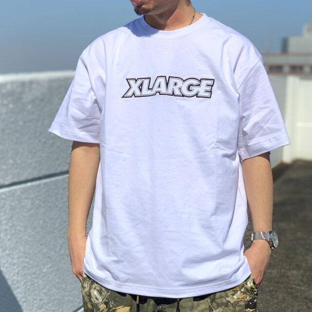全2色 エクストララージ XLARGE Tシャツ STANDARD LOGO PATCH S/S Tee ホワイト ライトブルー