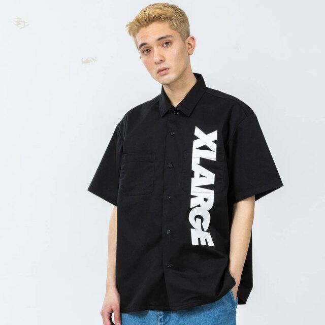 全2色 XLARGE エクストララージ ワークシャツ S/S STANDARD LOGO WORK SHIRT 半袖シャツ ブラック ベージュ 101212014004