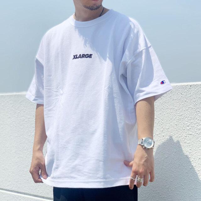 全4色 エクストララージ XLARGE Tシャツ XLARGE × CHAMPION REVERSE WEAVE S/S TEE リバースウィーブ ホワイト ブラック ブラウン パープル