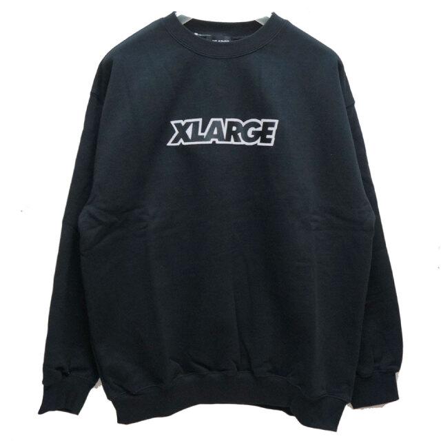全2色 エクストララージ XLARGE クルースウェット トレーナー STANDARD LOGO PATCHED CREW NECK SWEAT 定番ロゴ スウェット スタンダードロゴ ブラック ベージュ 黒 BLACK BEIGE