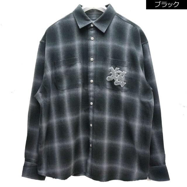 全2色 エクストララージ XLARGE ネルシャツ PATCHED FLANNEL SHIRT チェックシャツ ブラック 黒 ブラウン BROWN