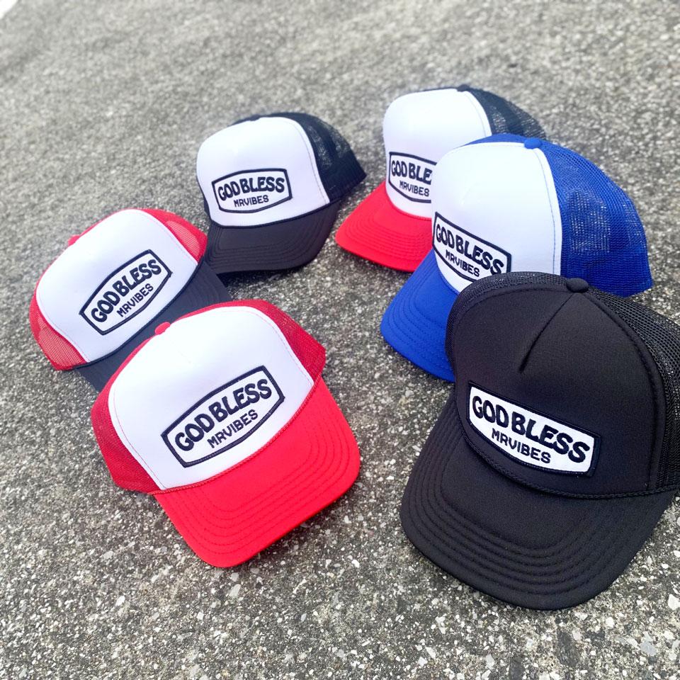 全6色 MRV by Mr.vibes メッシュキャップ GOD BLESS TRUCKER HAT 帽子 オリジナル MESH CAP ブラック レッド ブルー