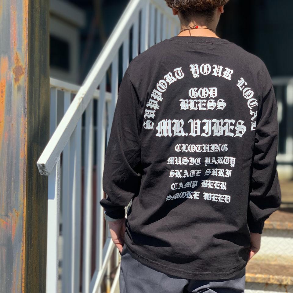 MRV by Mr.vibes ロンT Tシャツ GOD BLESS L/S Tee 長袖 オリジナル バックプリント  ブラック BLACK 黒