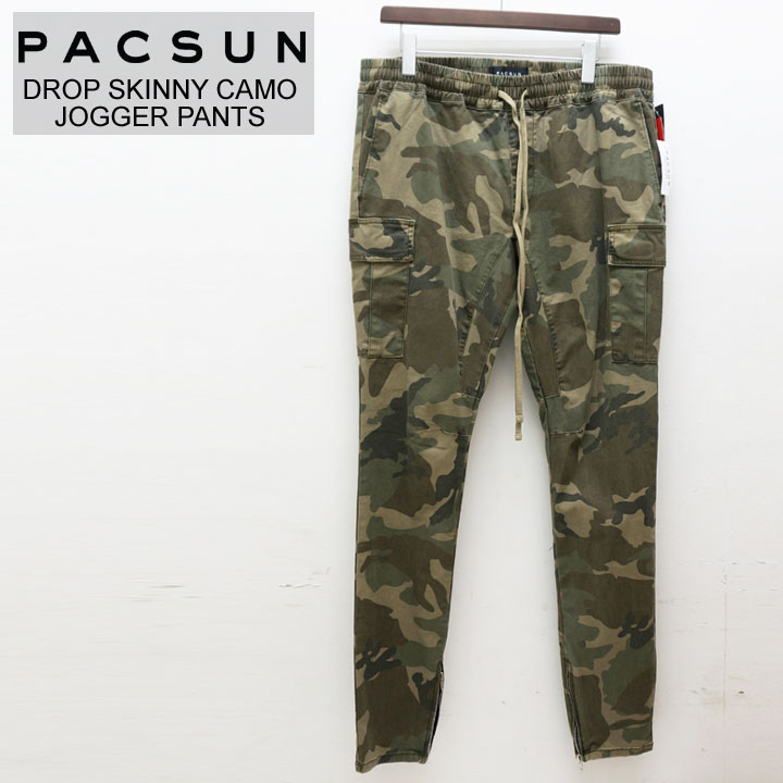 PACSUN パックサン ジップジョガーパンツ DROP SKINNY ZIP CAMO JOGGER PANTS
