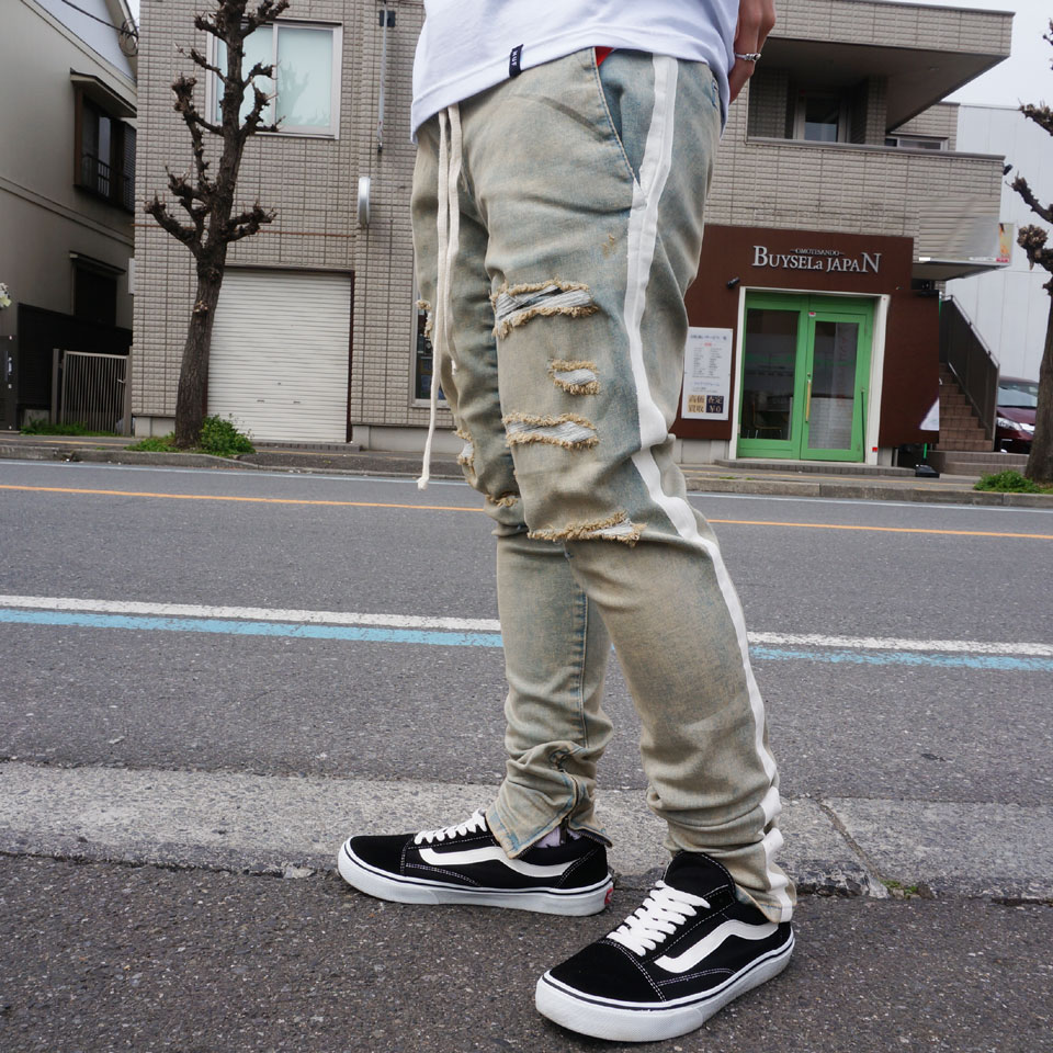 PACSUN パックサン ジップジョガーパンツ DROP SKINNY ZIP LINE DAMAGE DENIM JOGGER - MEDIUM INDIGO