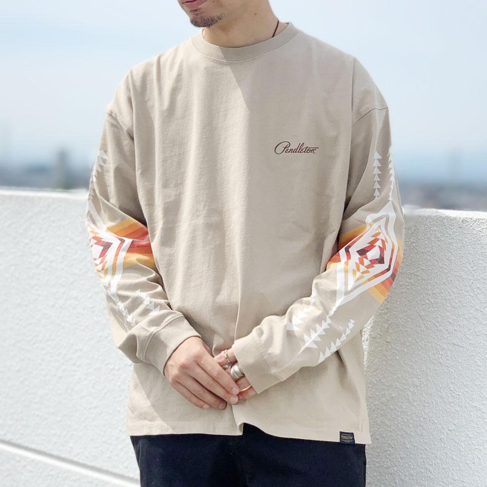 ペンドルトン PENDLETON ロンT Tシャツ SLEEVE PRINT L/S Tee  袖プリント ベージュ