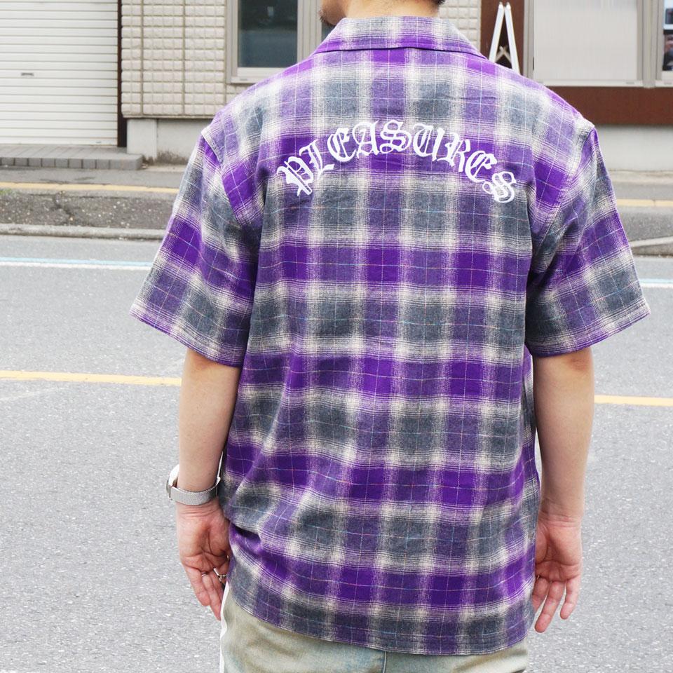 SALE セール PLEASURES プレジャーズ 半袖シャツ SHADOW PLAID S/S SHIRT