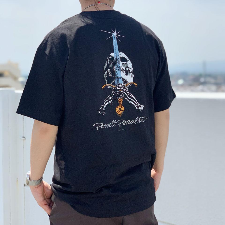 全2色 パウエルペラルタ POWELL PERALTA Tシャツ SKULL&SWORD S/S Tee ブラック ミリタリーグリーン