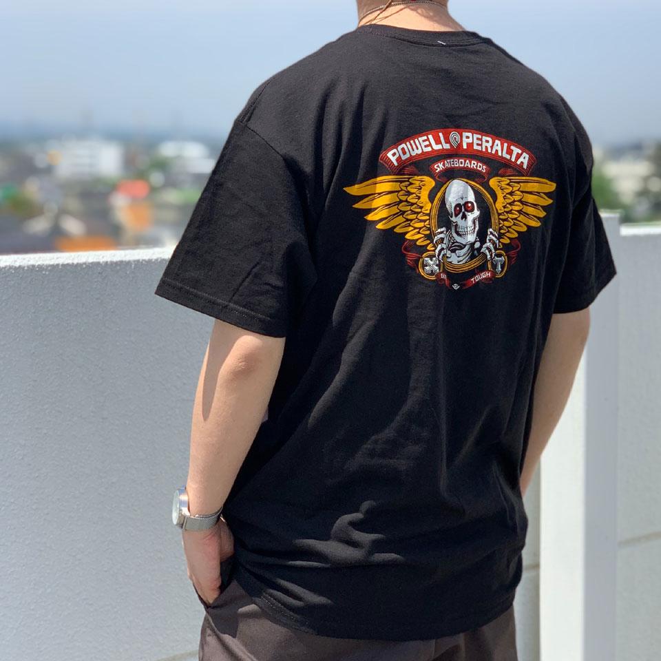 全3色 パウエルペラルタ POWELL PERALTA Tシャツ WINGED RIPPER S/S Tee スケルトン ホワイト ブラック レッド