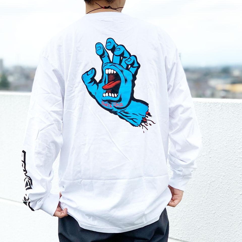 全2色 サンタクルーズ SANTA CRUZ サンタクルズ ロンT Tシャツ SCREAMING HAND L/S Tee 長袖 定番ロゴ ホワイト ブラック