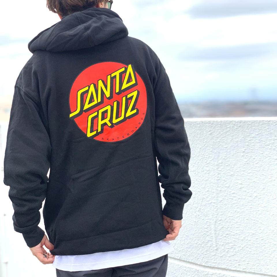 サンタクルーズ SANTA CRUZ サンタクルズ パーカー フーディー CLASSIC DOT P/O HOODIE 定番ロゴ ブラック