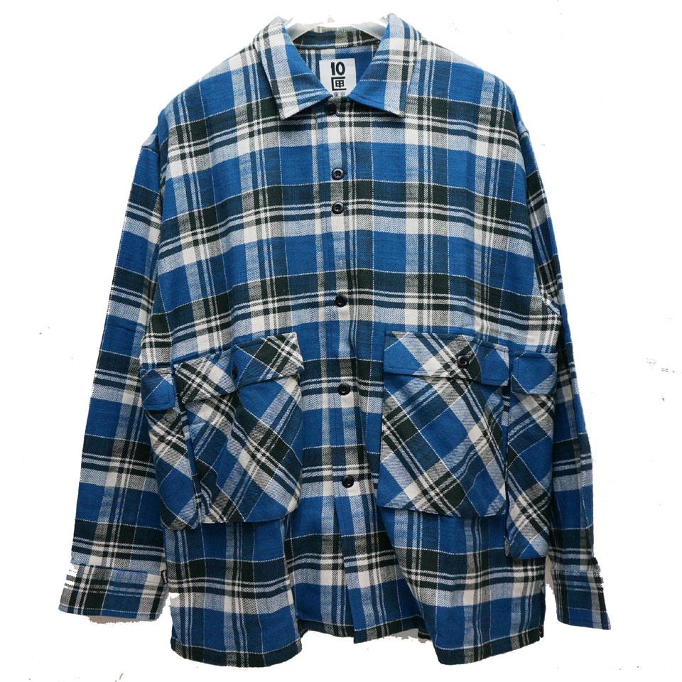 TENBOX 10匣 テンボックス 長袖シャツ DRAG DEALER SHIRT ネルシャツ チェックシャツ ブルー