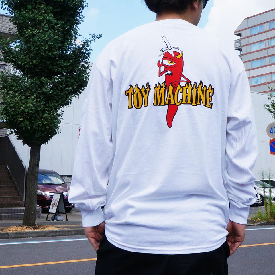 全2色 トイマシーン TOY MACHINE ロンT Tシャツ PEPPER SECT L/S Tee 長袖 袖プリント ホワイト ベージュ