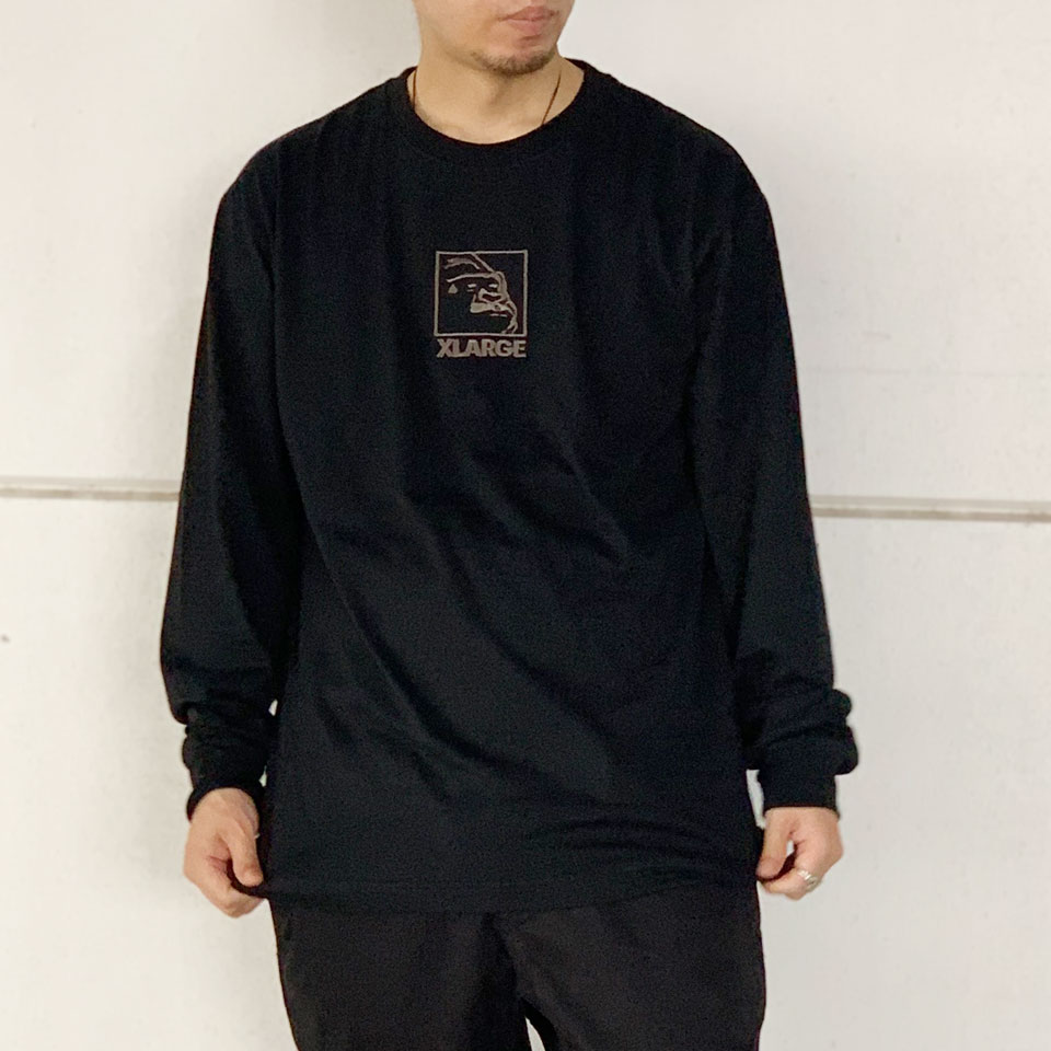 全3色 エクストララージ XLARGE ロンT Tシャツ SQUARE OG L/S Tee 長袖 刺繍 ブラック ベージュ パープル