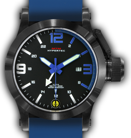 HYPERTEC 44 BLACK - BLUE DIAL- BLUE RUBBER II - BLACK Buckle