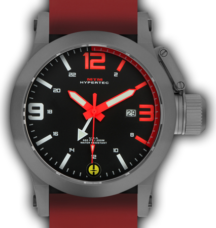 HYPERTEC 44 GREY - RED DIAL - RED RUBBER II- SILVER Buckle