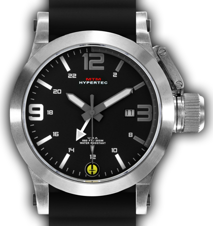 HYPERTEC 44 SILVER - GREY-WHITE DIAL - BLACK RUBBER I- SILVER Buckle