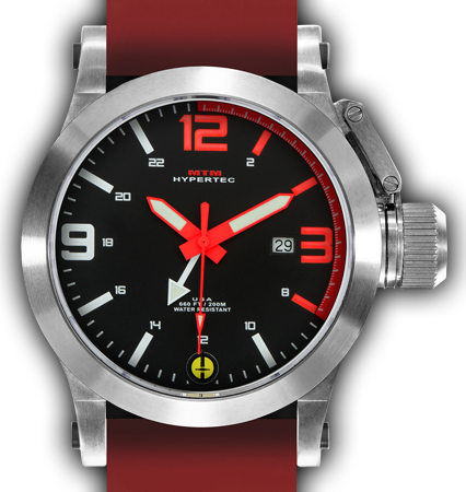 HYPERTEC 44 SILVER - RED DIAL - RED RUBBER II- SILVER Buckle