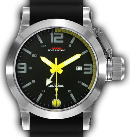 HYPERTEC 44 SILVER - YELLOW DIAL - BLACK RUBBER I- SILVER Buckle