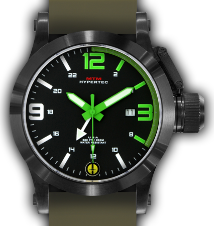 HYPERTEC 44 BLACK - GREEN DIAL - GREEN RUBBER II- BLACK Buckle