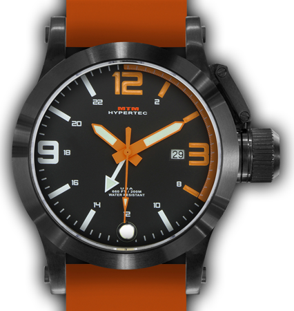 HYPERTEC 44 BLACK - ORANGE DIAL - ORANGE RUBBER II- BLACK Buckle