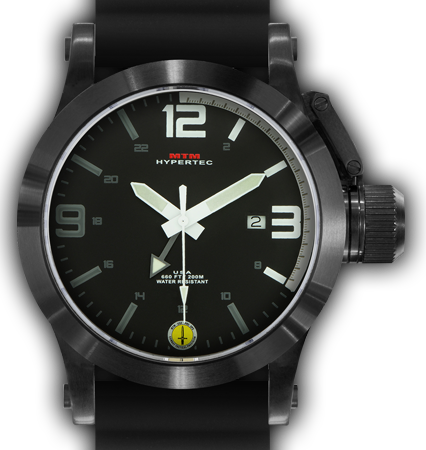 HYPERTEC 44 BLACK - WHITE DIAL - BLACK RUBBER I- BLACK Buckle