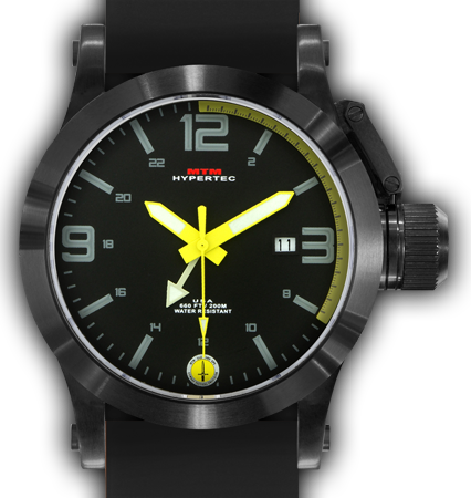 HYPERTEC 44 BLACK - YELLOW DIAL- BLACK RUBBER I- BLACK Buckle