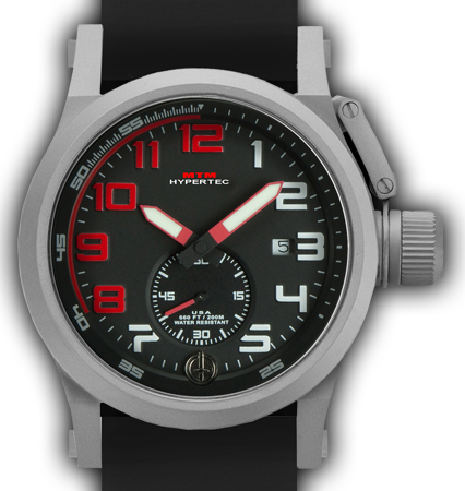 HYPERTEC CHRONO 1A Grey RED Dial - Black Rubber II- Silver Buckle