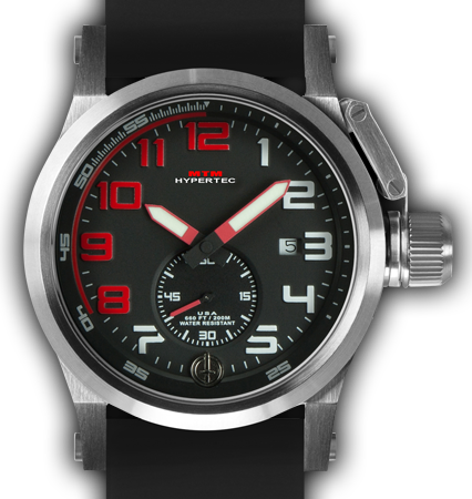 HYPERTEC CHRONO 1A Silver RED Dial - Black Rubber II- Silver Buckle